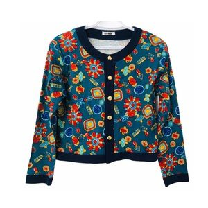 Vntg 90e Cropped Jeweled Print Cotton Jacket Top M